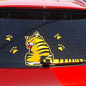 Tem dán sau xe hình mèo vẫy đuôi